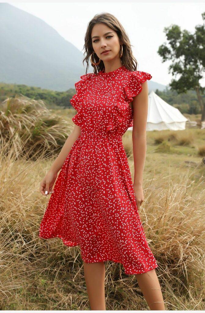 girl in red summer dress