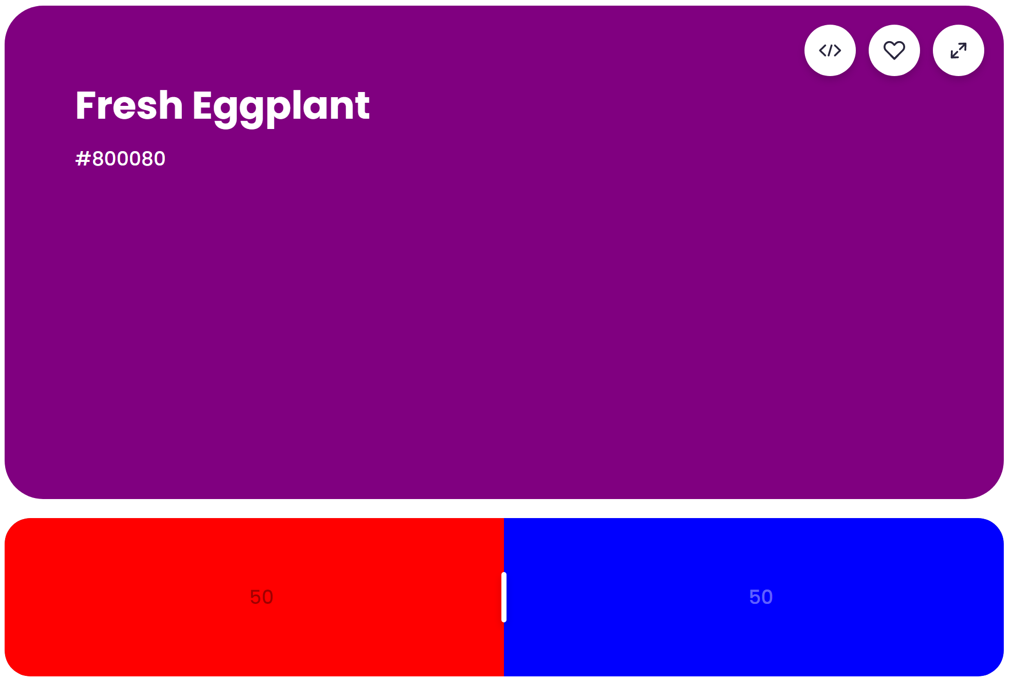 What Does Red and Blue Make? Mixing result of 50% red and 50% blue: Fresh Eggplant