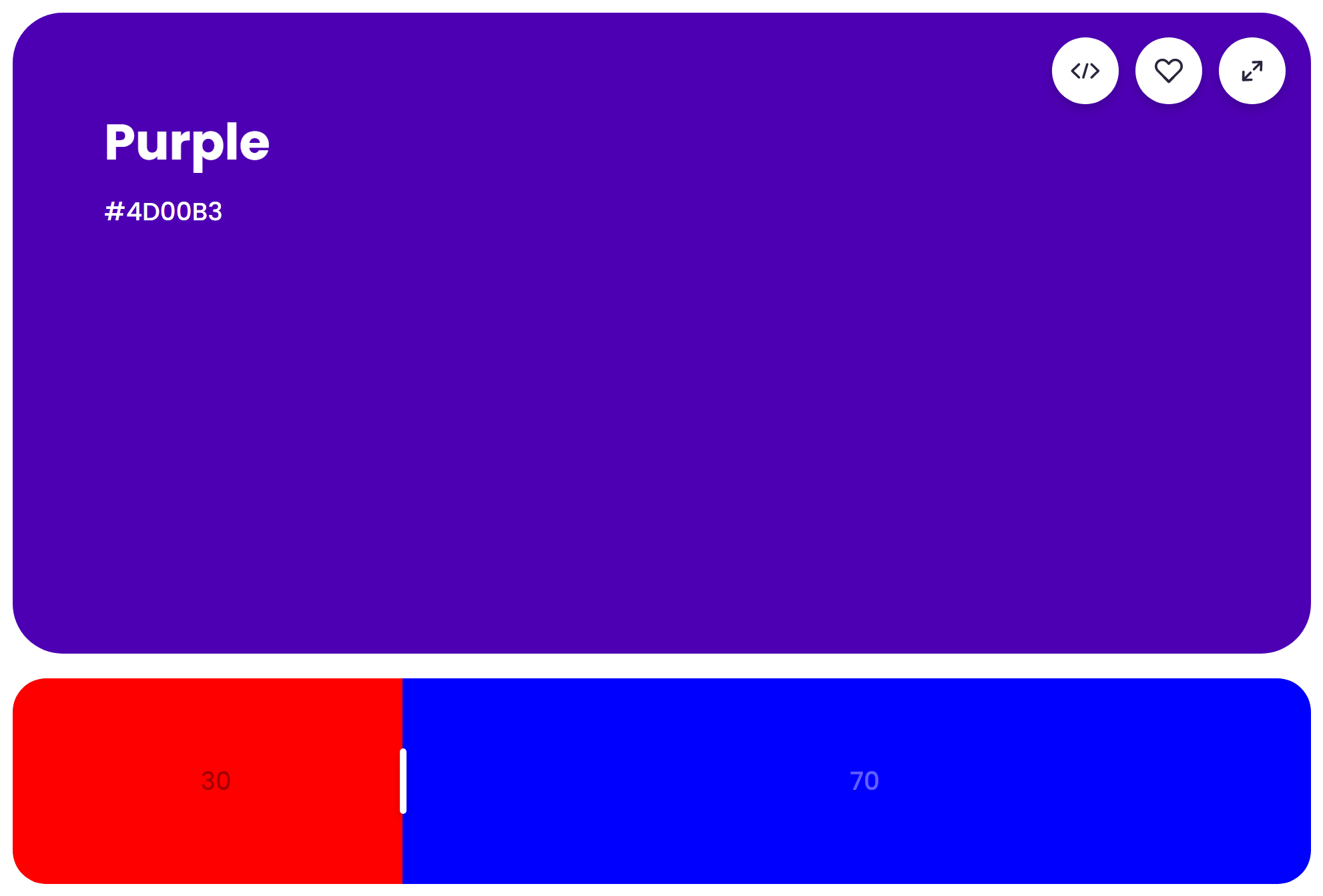 What Does Red and Blue Make? Mixing result of 30% red and 70% blue: Purple