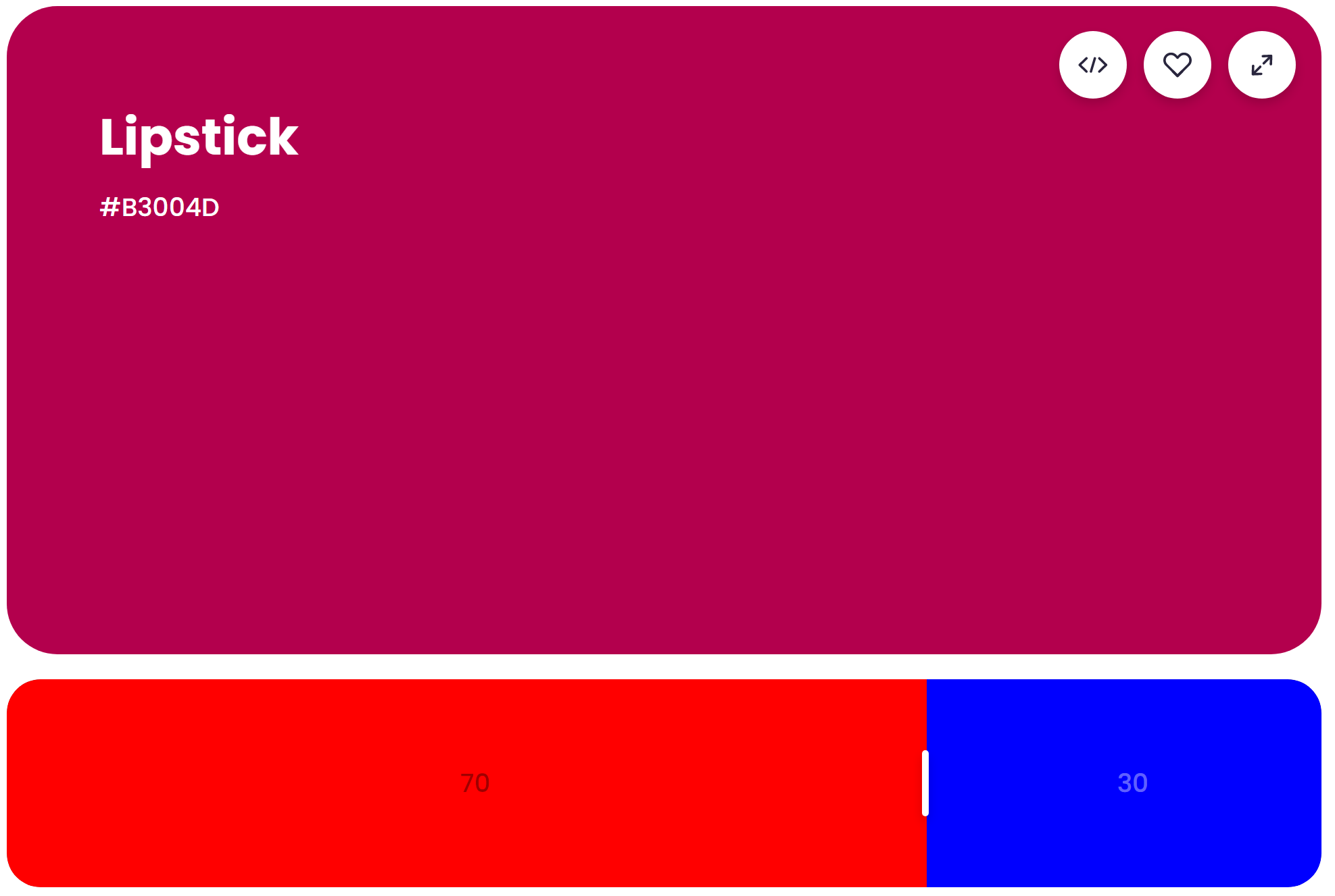 What Does Red and Blue Make? Mixing result of 70% red and 30% blue: Lipstick