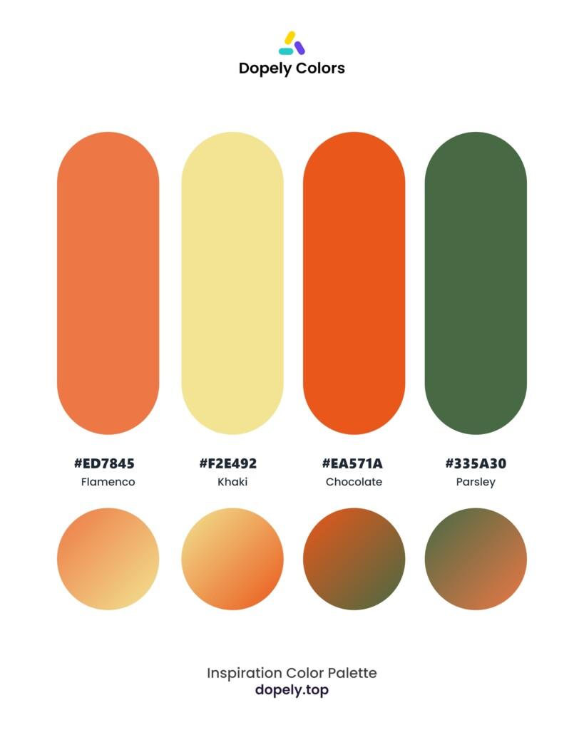 color palette inspiration including: Flamenco (ED7845) + Khaki (F2E492) + Chocolate (EA571A) + Parsley (335A30) by dopely colors