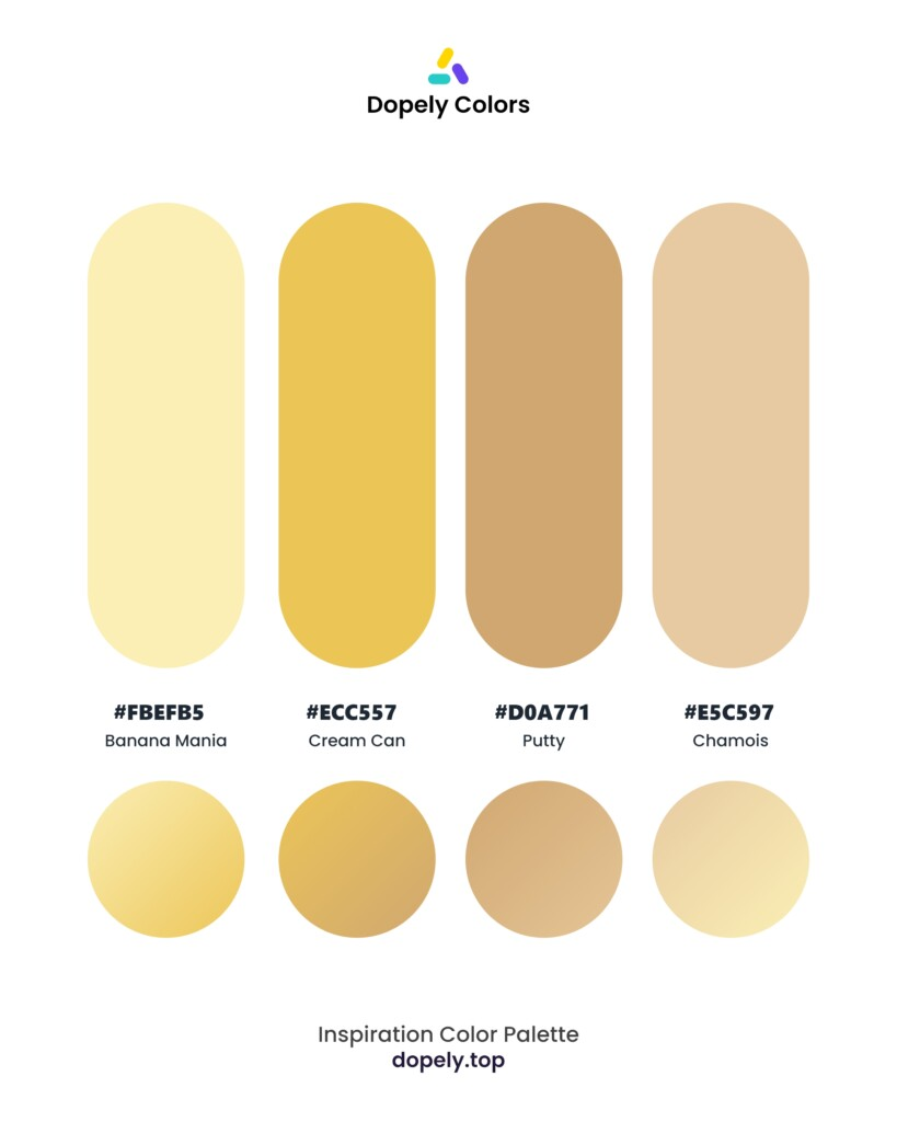 color palette inspiration including: Banana Mania (FBEFB5) + Cream Can (ECC557) + Putty (D0A771) + Chamois (E5C597)  by dopely colors