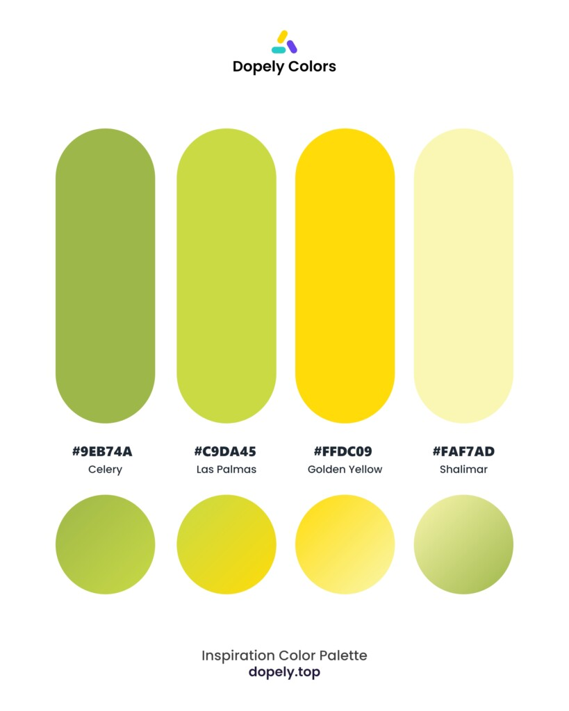 color palette inspiration including: Celery (9EB74A) + Las Palmas (C9DA45) + Golden Yellow (FFDC09) + Shalimar (FAF7AD) by dopely colors