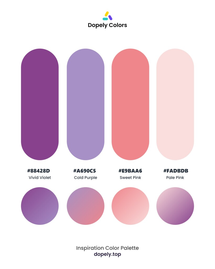 color palette inspiration including: Vivid Violet (88428D) + Cold Purple (A690C5) + Sweet Pink (EE868C) + Pale Pink (FADBDB) by dopely colors