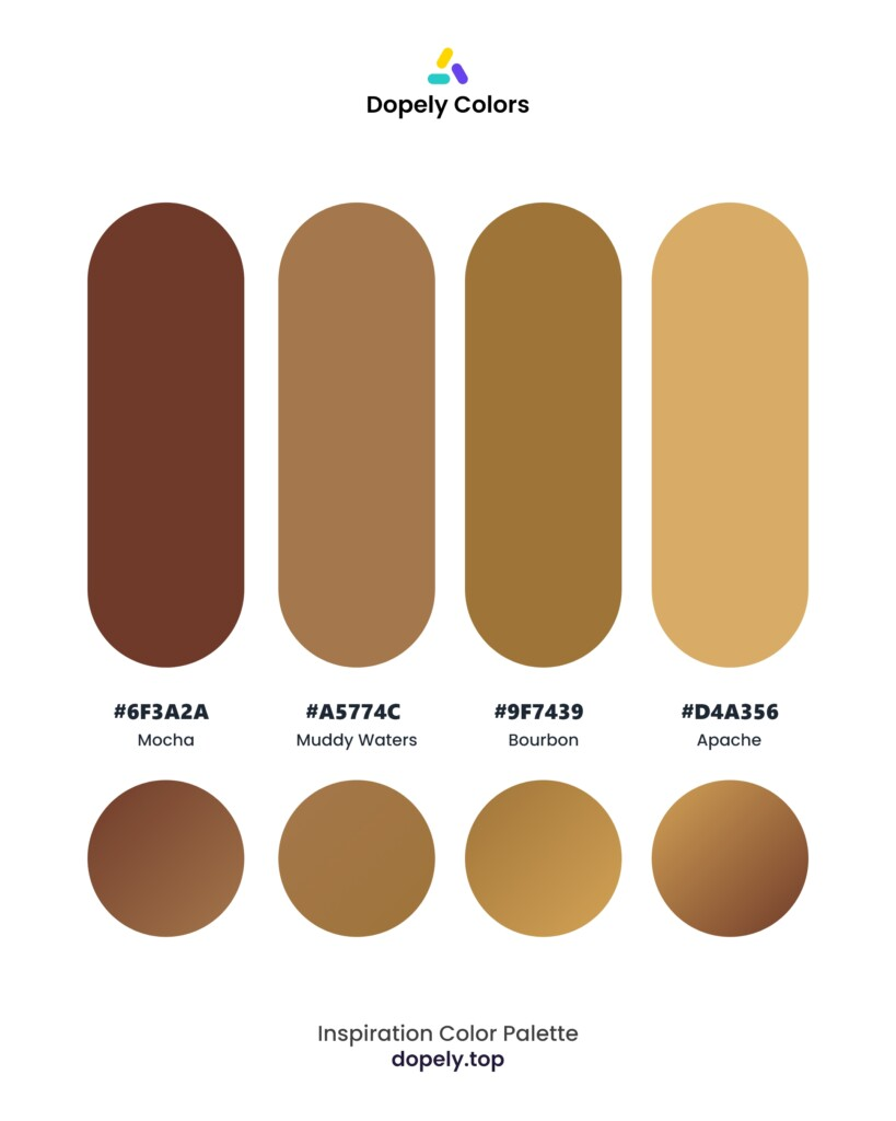 color palette inspiration including: Mocha (6F3A2A) + Muddy Waters (A5774C) + Bourbon (9F7439) + Apache (D4A356) by dopely colors