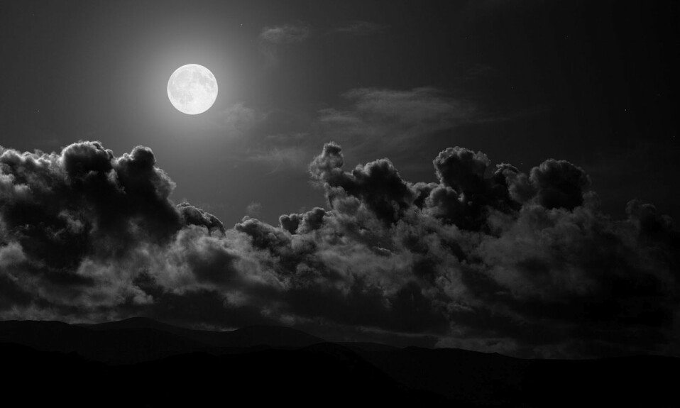 Black in nature, black sky, moon in the middle of sky, featuring black in nature