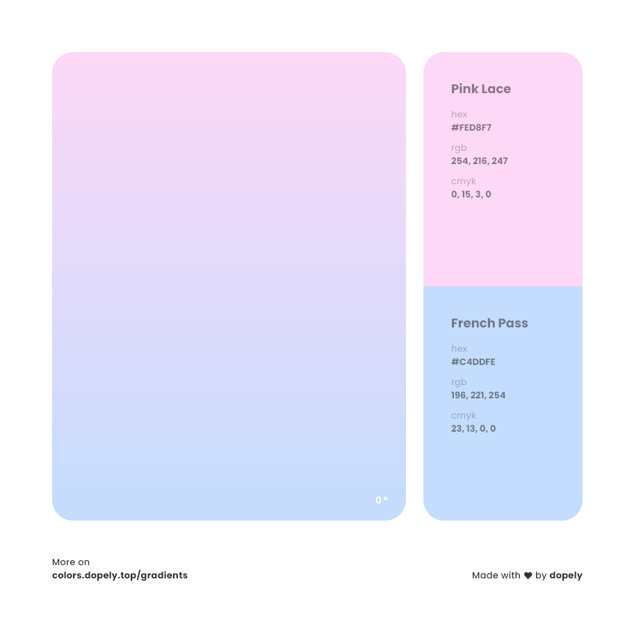 pink lace to french passblue color gradient inspiration with names, RGB, CMYK& Hex code