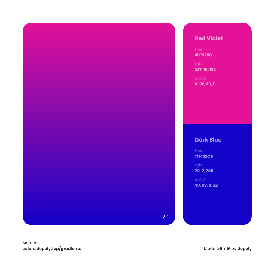 red violet to dark blue color gradient inspiration with names, RGB, CMYK& Hex code