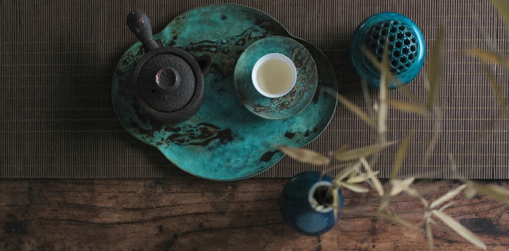 blue tea bowls in cinese culture in a table