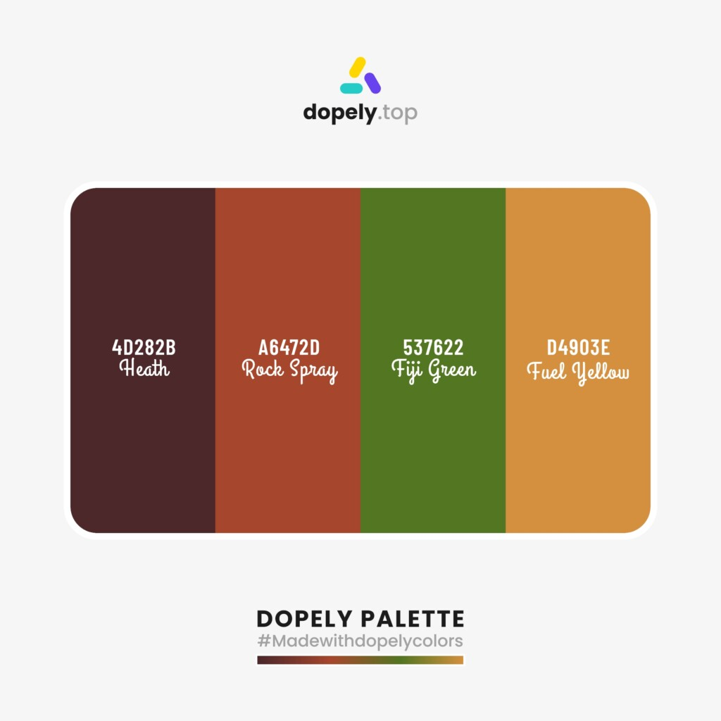 sharp Color palette inspiration from Dopely colors with: Heath (4D282B) + Rock Spray (A6472D) + Fiji Green (537622) + Fuel Yellow (D4903E)