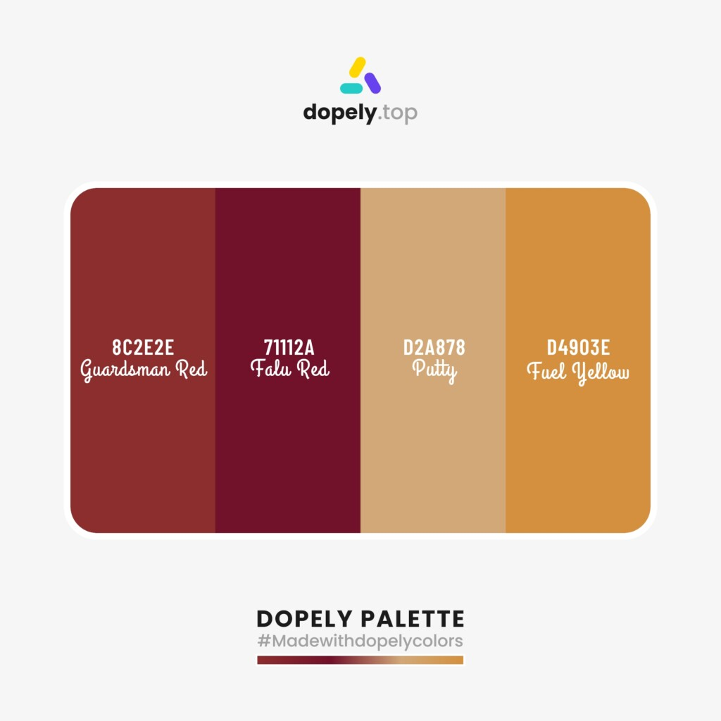 sharp Color palette  from Dopely colors with: Guardsman Red (8C2E2E) + Falu Red (71112A) + Putty (D2A878) + Fuel Yellow (D4903E)