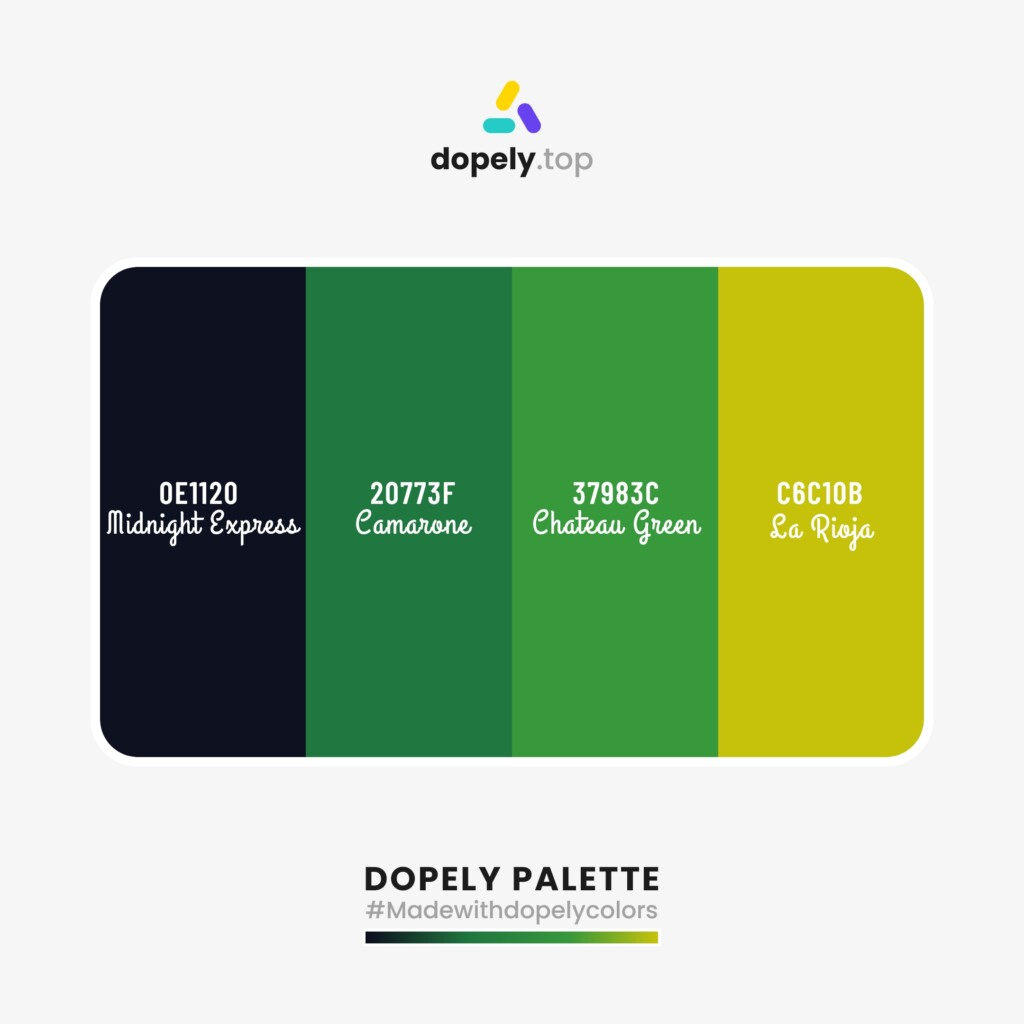 sharp Color palette inspiration  from Dopely colors with: Midnight Express (0E1120) + Camarone (20773F) + Chateau Green (37983C) + Sa Rioja (C6C10B)