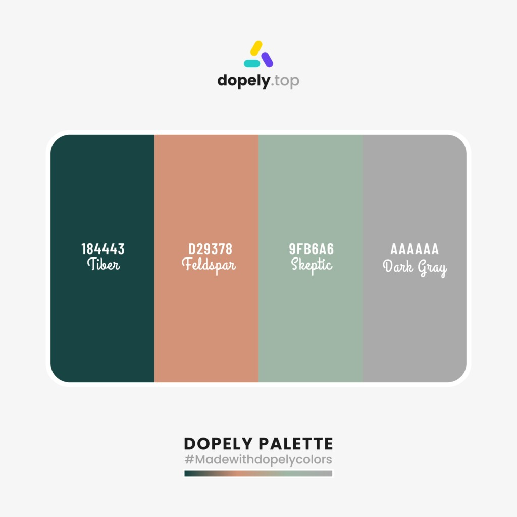 pastel Color palette inspiration  from Dopely colors with: Tiber (184443) + Feldspar (D29378) + Skeptic (9FB6A6) + Dark Gray (AAAAAA)