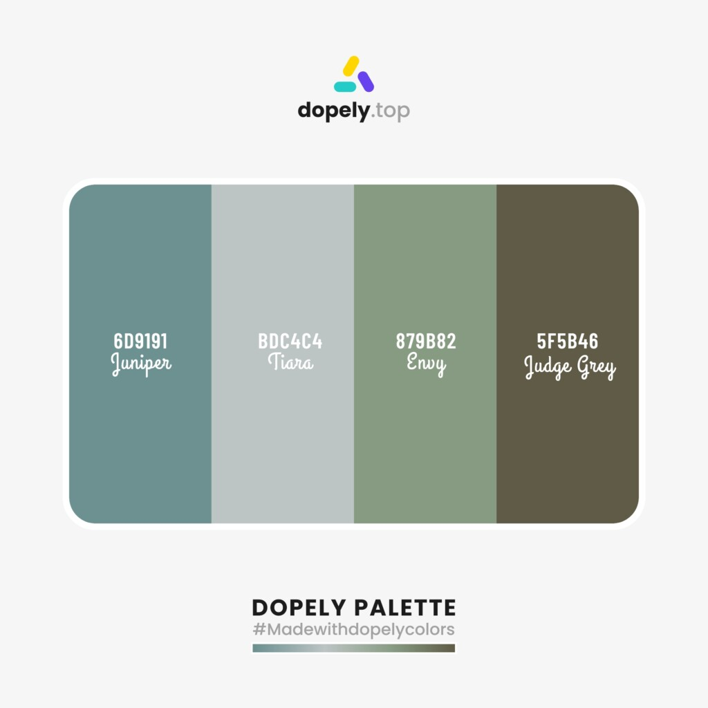 pastel Color palette  from Dopely colors with: Juniper (6D9191) + Tiara (BDC4C4) + Envy (879B82) + Judge Grey (5F5B46)