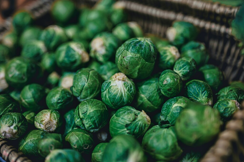 small brussels sprouts in the basket