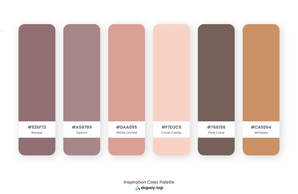 color palette inspiration by Dopely color palette generator Bazaar (926F73) + Opium (A58789) + Petite Orchid (DAA095) + Coral Candy (F7D3C5) + Pine Cone (766158) + Whiskey (CA9264)