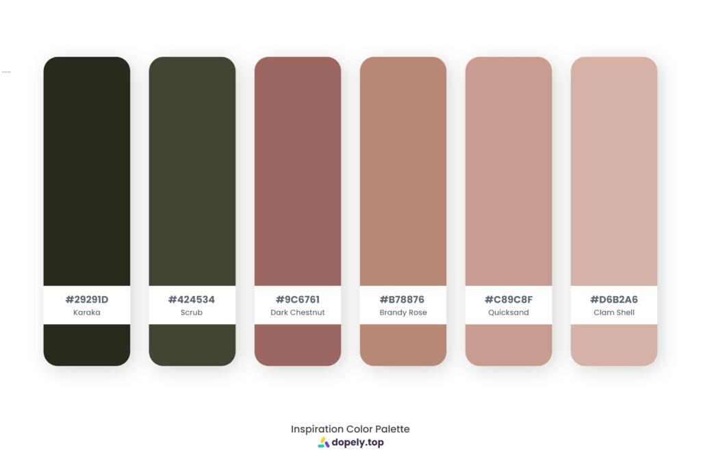 color palette inspiration by Dopely color palette generator Karaka (29291D) + Scrub (424534) + Dark Chestnut (9C6761) + Brandy Rose (B78876) + Quicksand (C89C8F) + Clam Shell (D6B2A6)