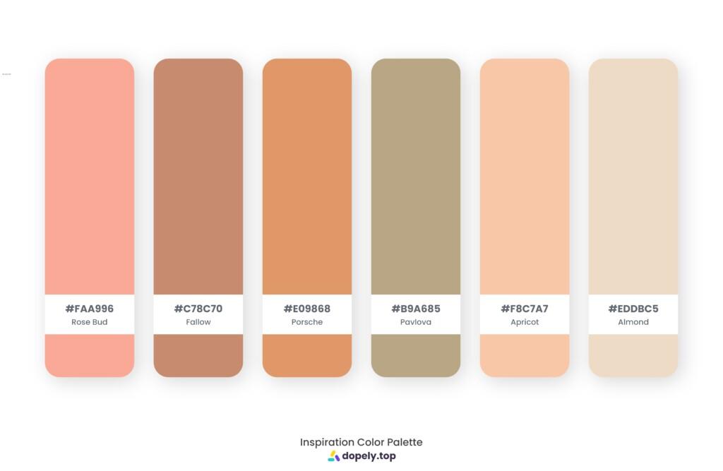 color palette inspiration by Dopely color palette generator Rose Bud (FAA996) + Fallow (C78C70) + Porsche (E09868) + Pavlova (B9A685) + Apricot (F8C7A7) + Almond (EDDBC5)