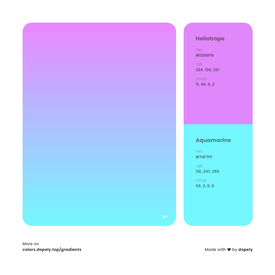 Heliotrope purple to aquamarine blue color gradient inspiration with names, RGB, CMYK& Hex code