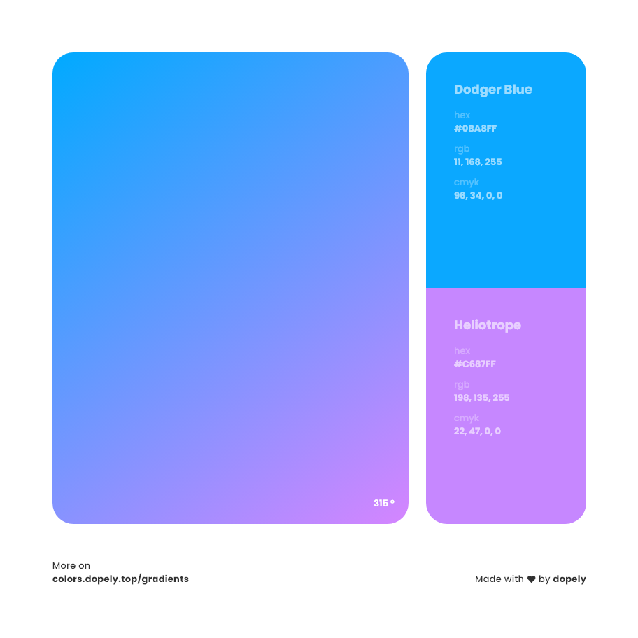 Heliotrope purple to dodger blue color gradient inspiration with names, RGB, CMYK& Hex code