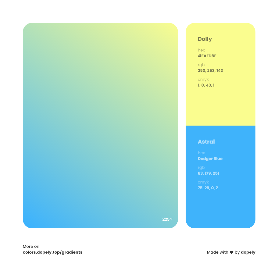 dolly to astral blue color gradient inspiration with names, RGB, CMYK& Hex code