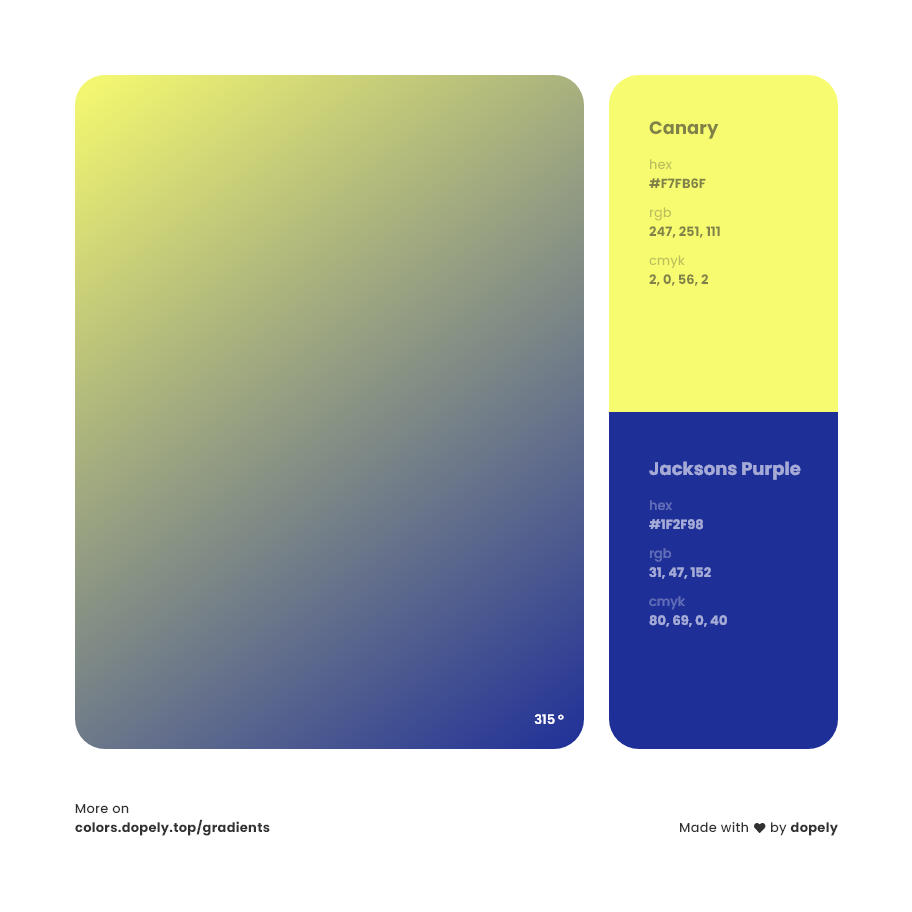 canary to jacksons purple color gradient inspiration with names, RGB, CMYK& Hex code