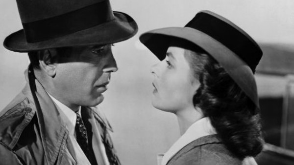 color in film, black and white movies. old movie actors staring at each other