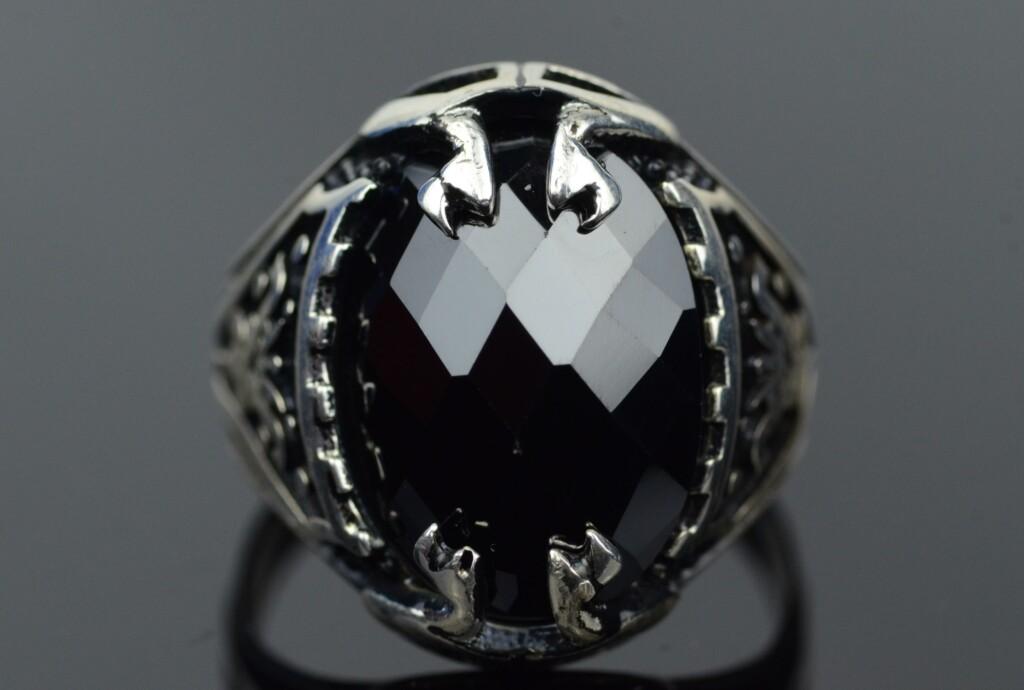 black zircon stone in silver ring