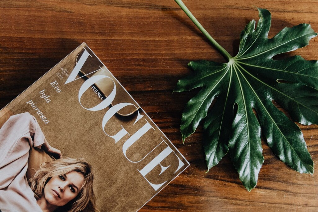 Brown color Vogue fashion magazine on a wooden surface next to a green leaf