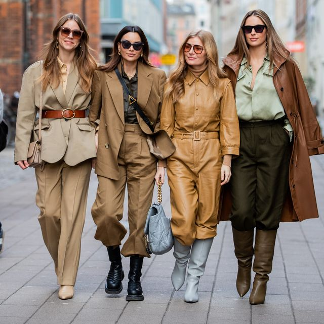 Women wearing different hues of brown color, representing brown in fashion