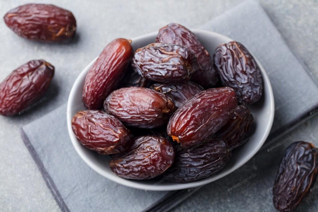 Edible dark brown dates