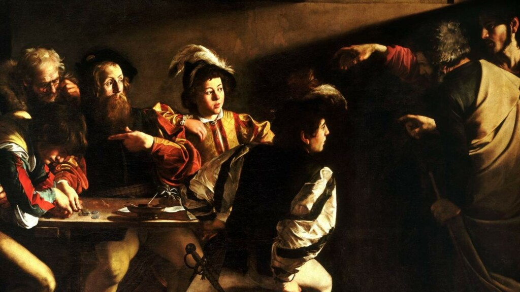 Painting by Caravaggio and Rembrandt Van Rijn, using brown color to create chiaroscuro effects