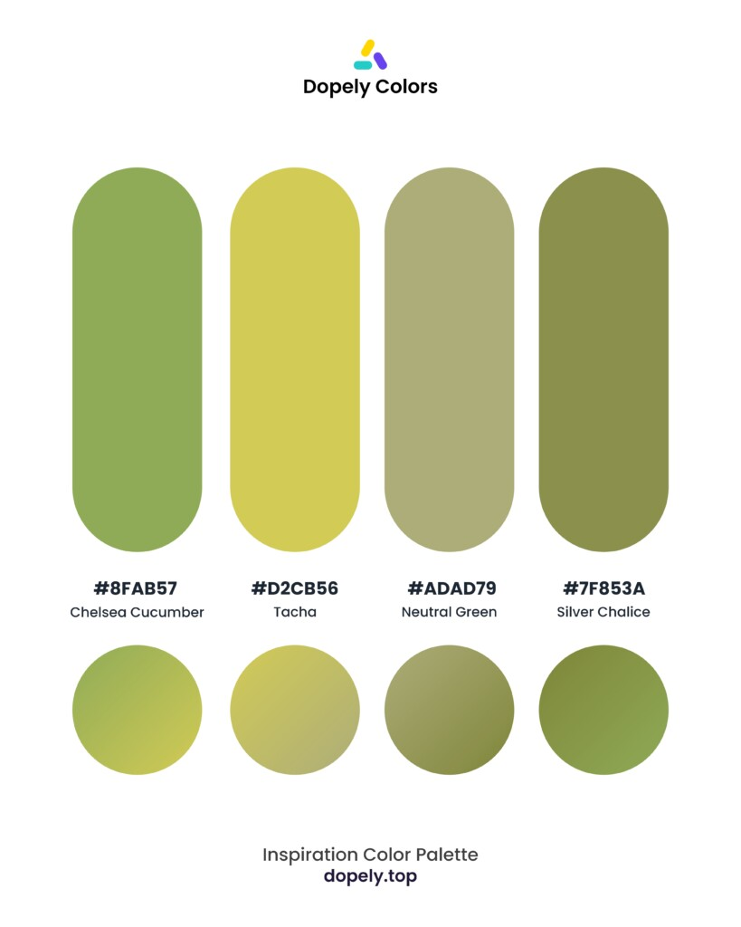 color palette inspiration by Dopely color palette generator Chelsea Cucumber (8fab57) + Tacha (d2cb56) + Neutral Green (adad79) + Silver Chalice (7f853a)