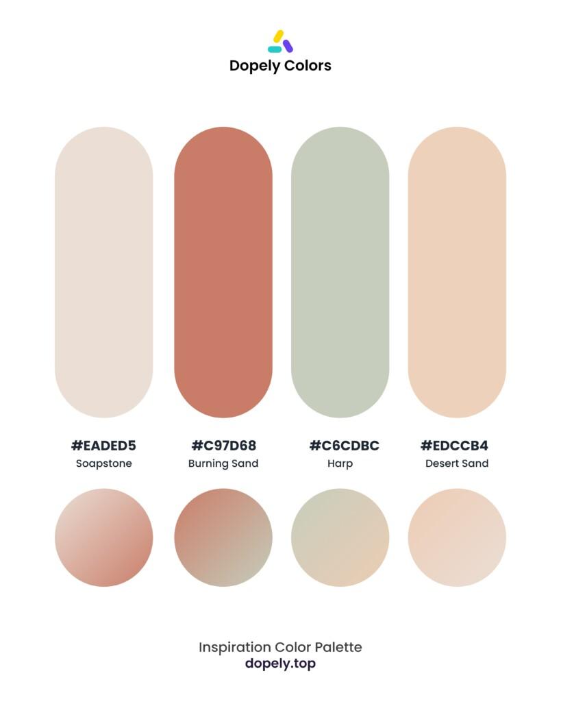 color palette inspiration by Dopely color palette generator Soapstone (eaded5) + Burning Sand (c97d68) + Harp (c6cdbc) + Desert Sand (edccb4)
