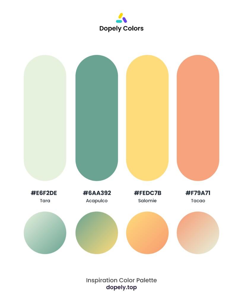 pastel color palette inspiration by Dopely color palette generator Tara (e6f2de) + Acapulco (6aa392) + Salomie (fedc7b) + Tacao (f79a71)