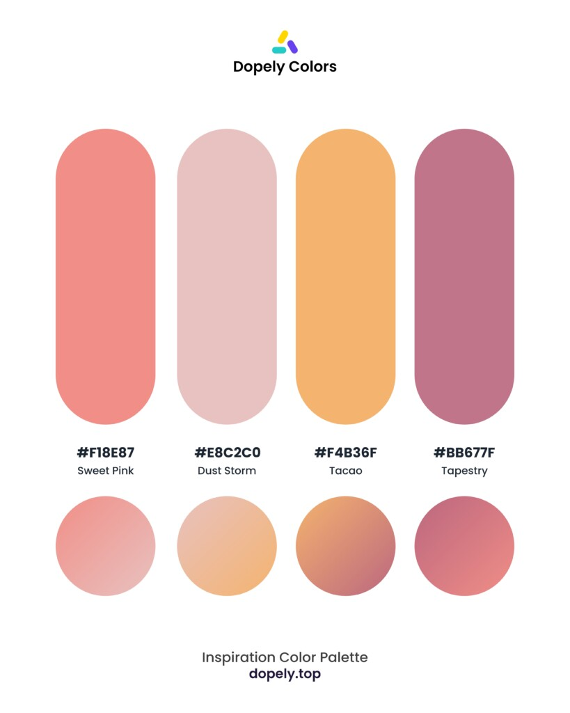 warm color palette inspiration by Dopely color palette generator Sweet Pink (f18e87) + Dust Storm (e8c2c0) + Tacao (f4b36f) + Tapestry (bb677f)