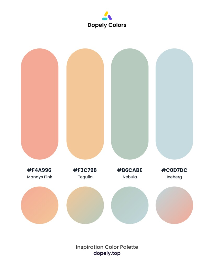 pastel color palette inspiration by Dopely color palette generator Mandys Pink (f4a996) + Tequilo (f3c798) + Nebulo (b6cabe) + Iceberg (c0d7dc)