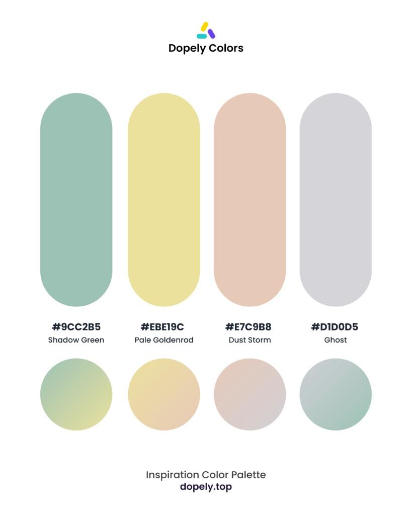 color palette inspiration by Dopely color palette generator Shadow Green (9cc2b5) + Pale Goldenrod (ebe19c) + Dust Storm (e7c9b8) + Ghost (d1d0d5)