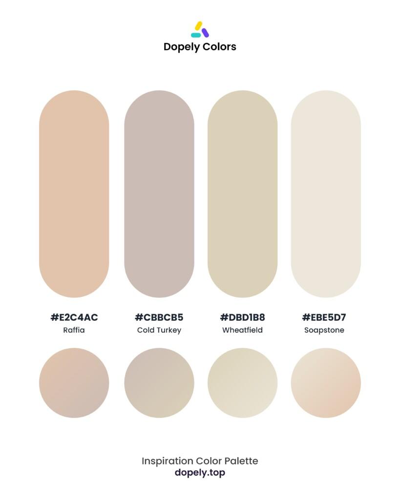 pastel color palette inspiration by Dopely color palette generator Raffie (e2c4ac) + Cold Turkey (cbbcb5) + Wheatfield (dbd1b8) + Soapstone (ebe5d7)