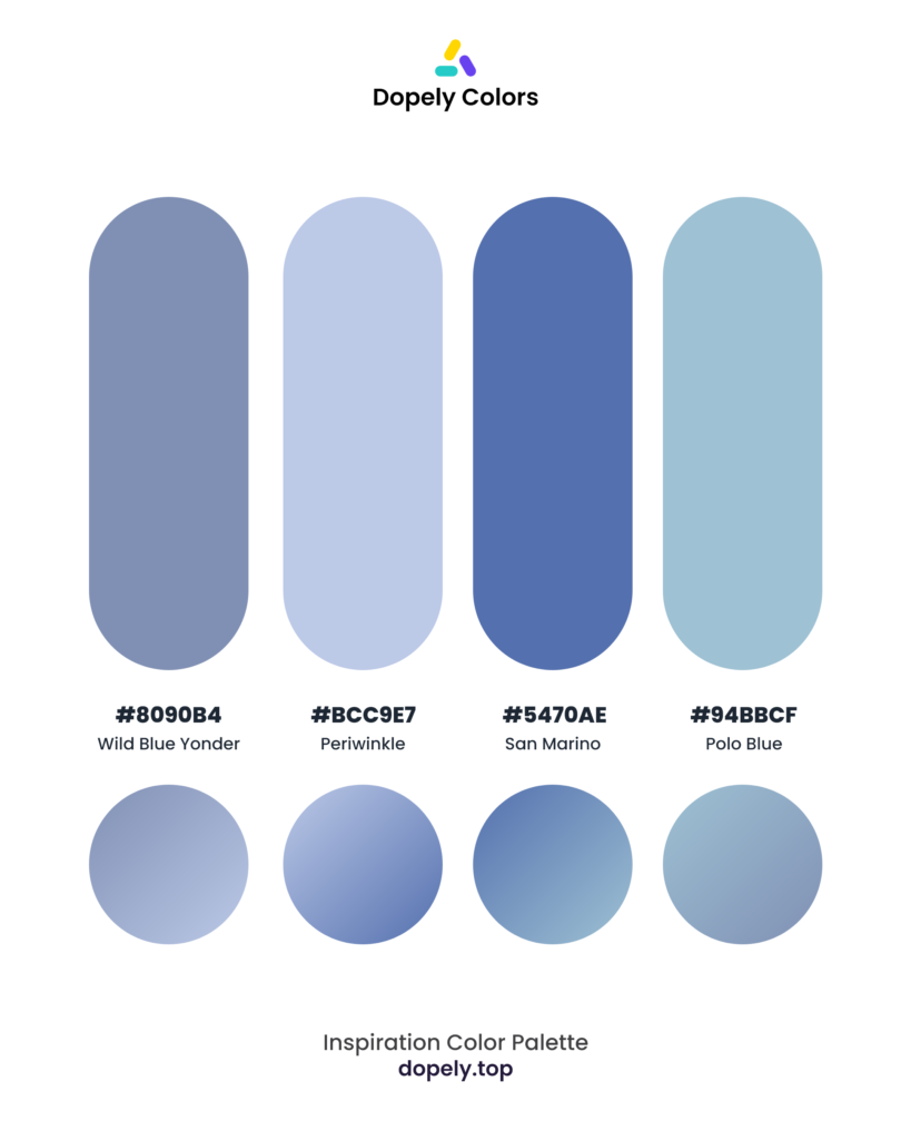 Color palette inspiration by Dopely color palette generator with: Wild Blue Yonder (8090B4) + Periwinkle (BCC9E7) + San Marino (5470AE) + Polo Blue (94BBCF)