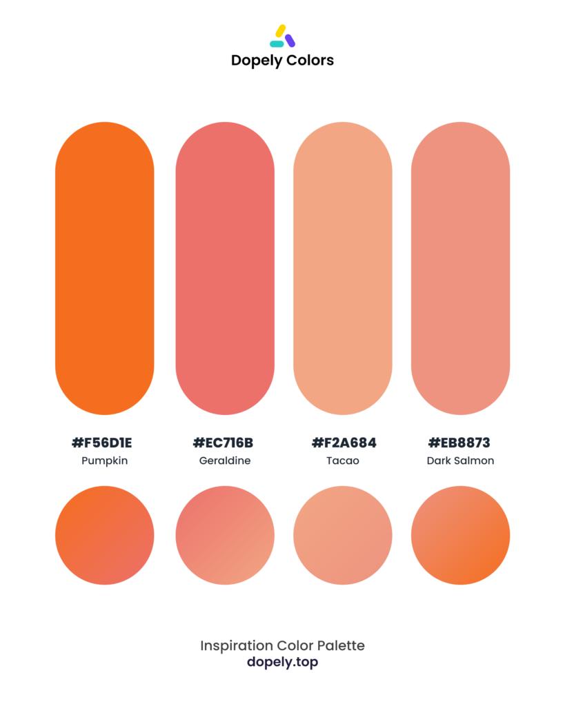 Color palette by Dopely color palette generator with: Pumpkin (F56D1E) + Geraldine (EC716B) + Tacao (F2A684) + Dark Salmon (EB8873)