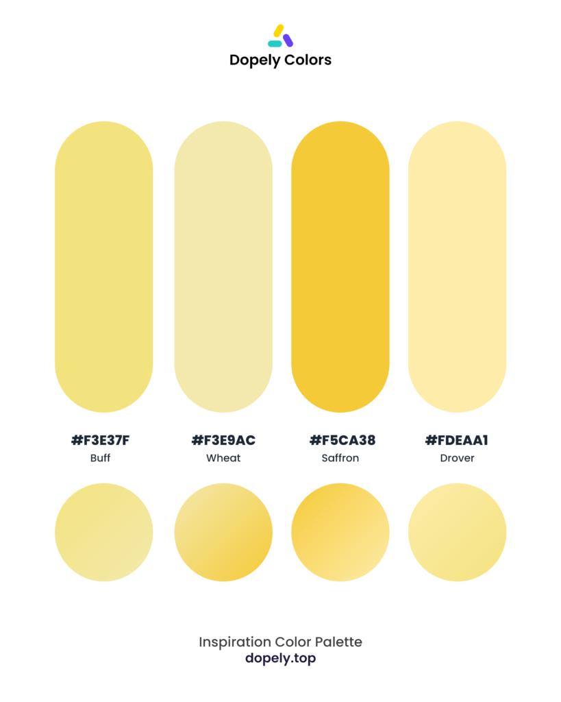Color palette inspiration by Dopely color palette generator with: Buff (F3E37F) + Wheat (F3E9AC) + Saffron (F5CA38) + Drover (FDEAA1)