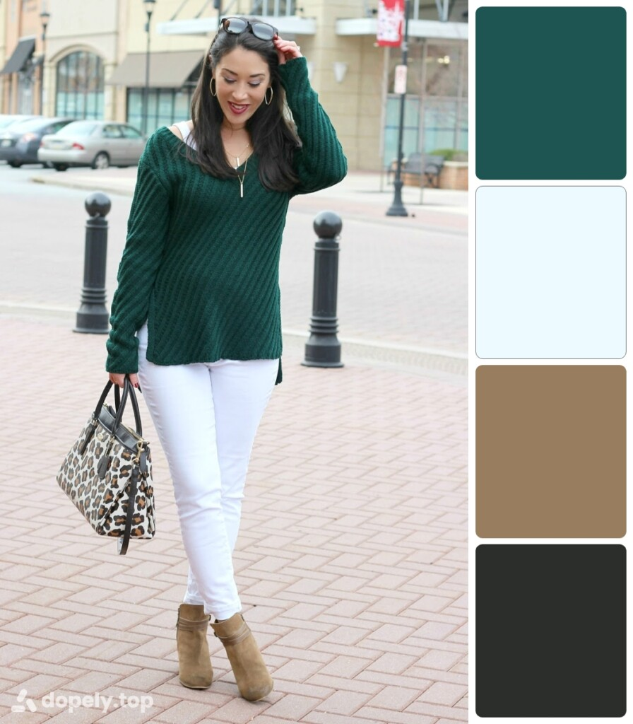 a girl standing in the street in dark green, light brown, white and black clothes. next to the color palette made of Dopely for a combination of green and white.