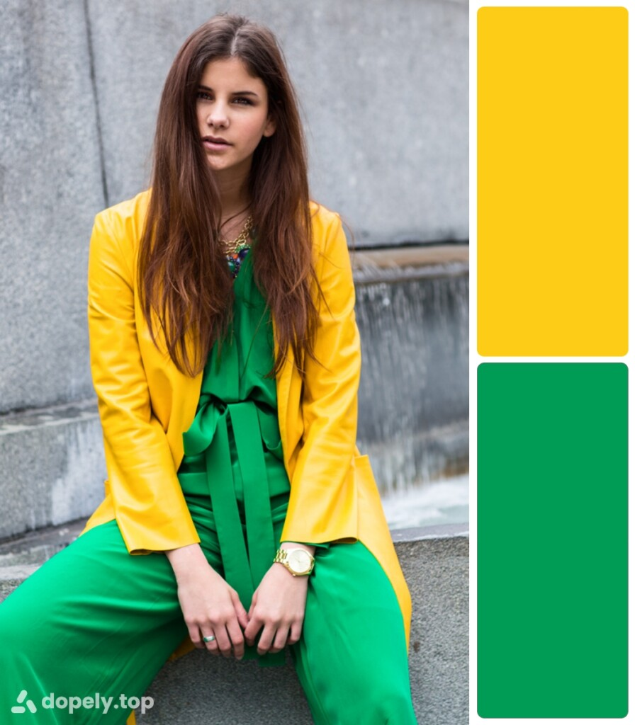 a girl in green and yellow clothes sitting on a step. next to the color palette made of Dopely for a combination of green and yellow.