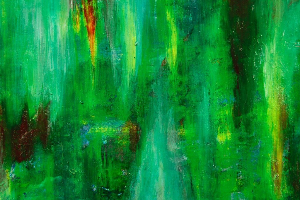 green color and its different tonnages on a painting canvas