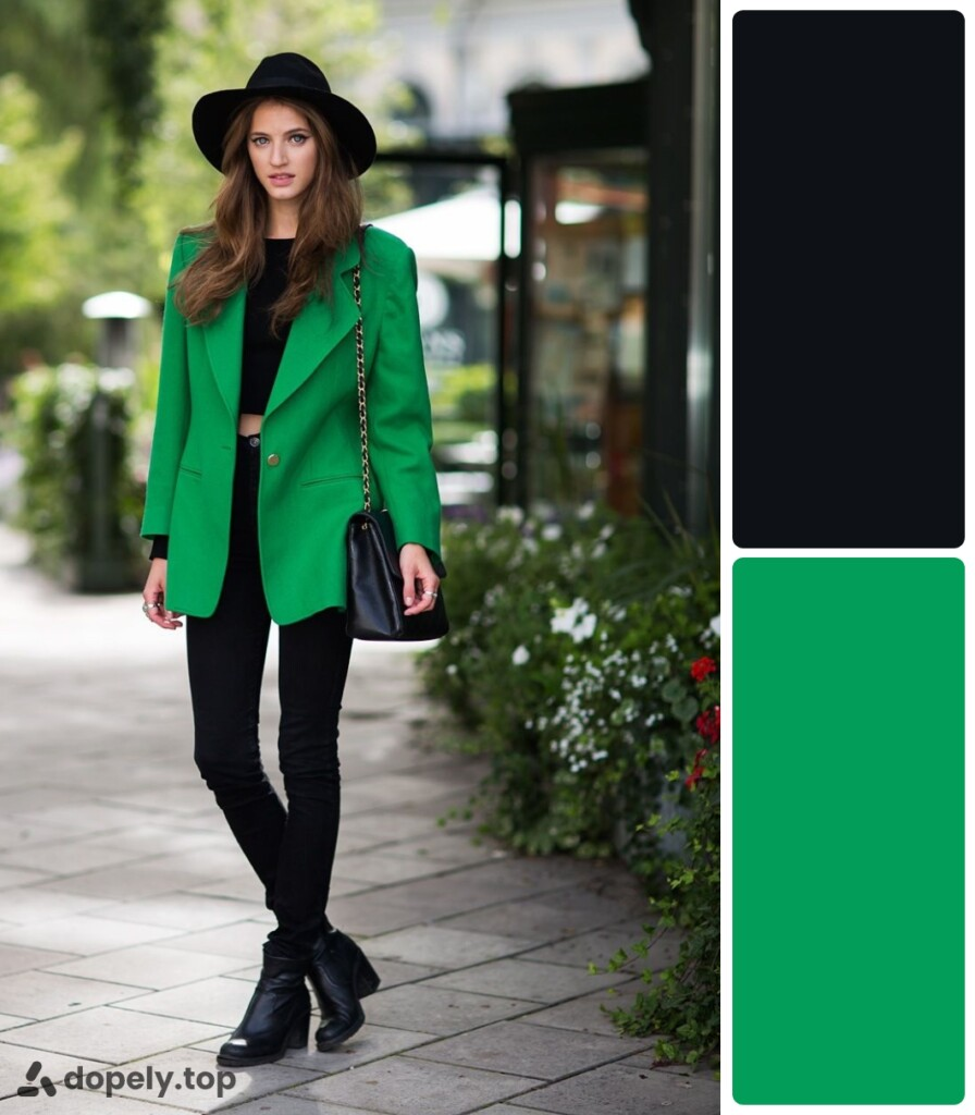 a girl in green and black clothes. next to the color palette made of Dopely for a combination of green and black.