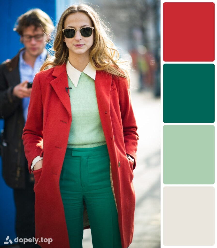 a girl in red, dark green, light green and white clothes. next to the color palette made of Dopely for a combination of green and red.