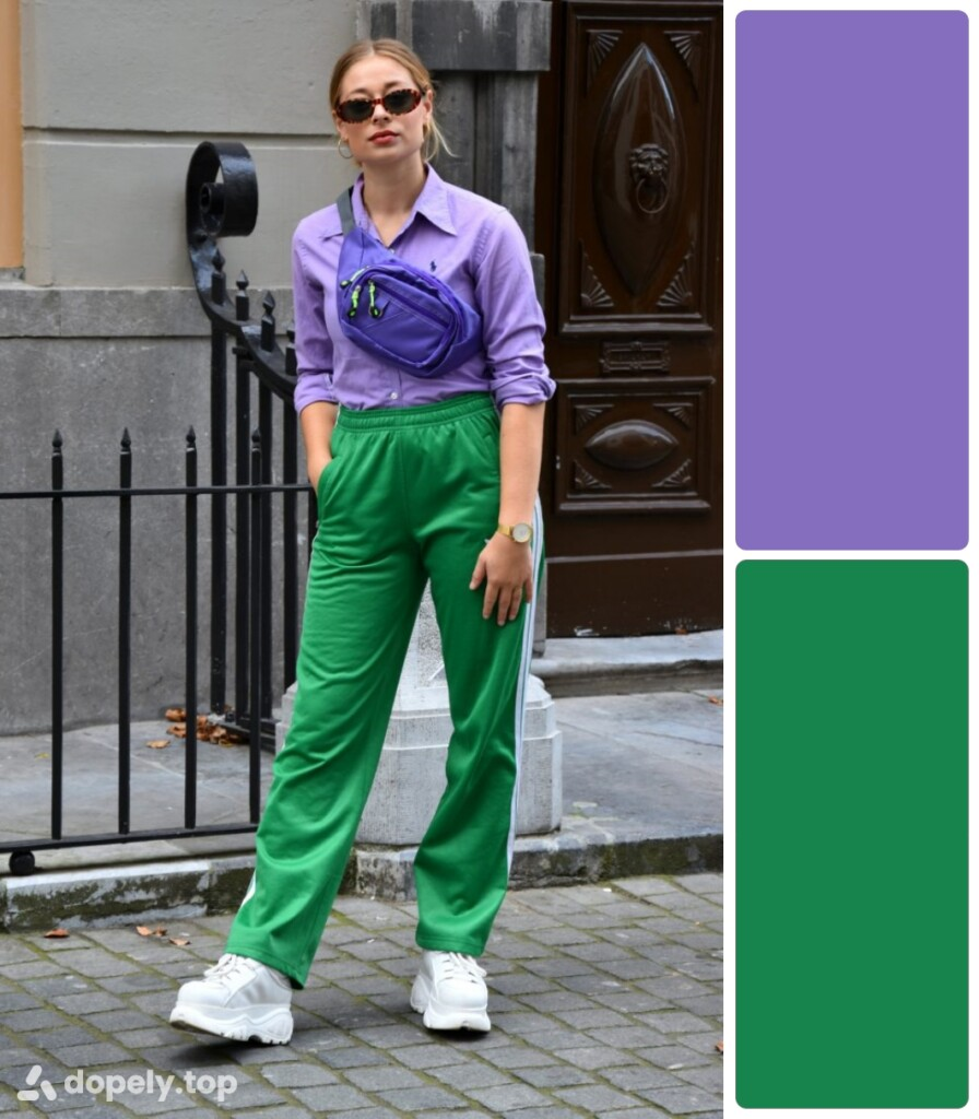a girl in green and lilac clothes. next to the color palette made of Dopely for a combination of green and purple.