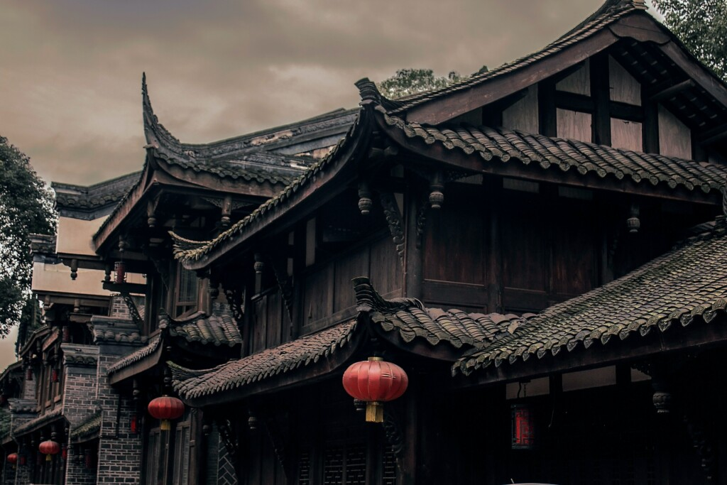 an old black building in china