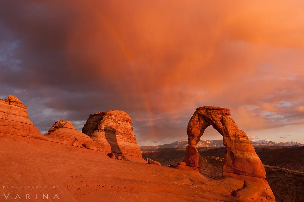 monochrome image of orange rocks with orange sunset air